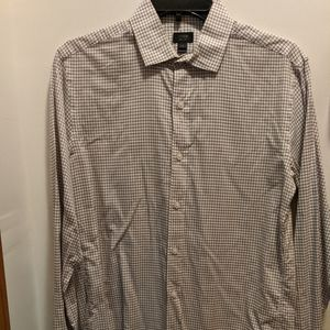 J Crew men's small beige checked button up shirt